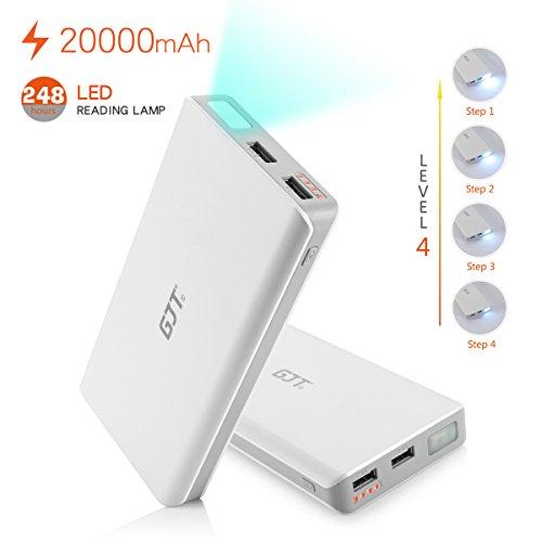 GJT® 20000mAh Power Bank 4 LED Light Backup External Battery Portable Charger Dual USB Port For Apple IPhone...
