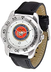 US Marines Suntime Mens Sports Watch w/ Leather Band - NCAA College Athletics
