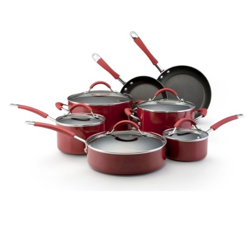 KitchenAid Aluminum Nonstick 12-Piece Cookware Set, Red
