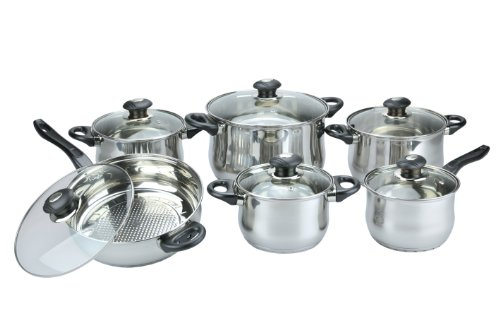 Vinaroz 12-Piece Vicenza Stainless Steel Cookware Set