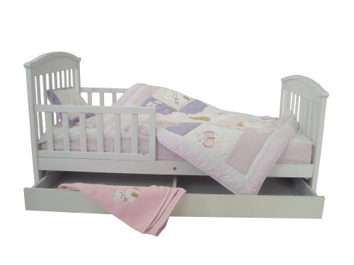 Dream On Me Mission Style Toddler Bed with Storage Drawer, White