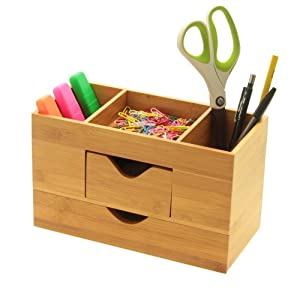Desk organiser tidy stationery box made of natural bamboo wood office products - Desk stationery organiser ...