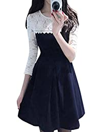 JULEE Lace And Crepe Fabric Dress For Women (Blue And White)