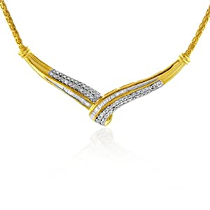 1/3 Carat Diamond Necklace - 14K Gold Over Sterling Silver