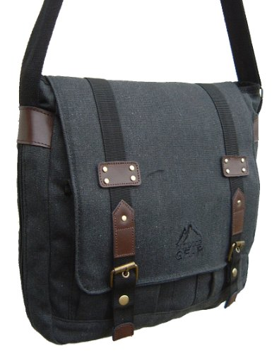 Messenger Satchel Style Man Bag by Outdoor Gear in black cotton canvas with brown trim
