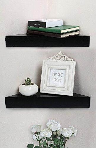 Shelving Solution Corner Wall Shelf, Set of 2 (Modern Black)