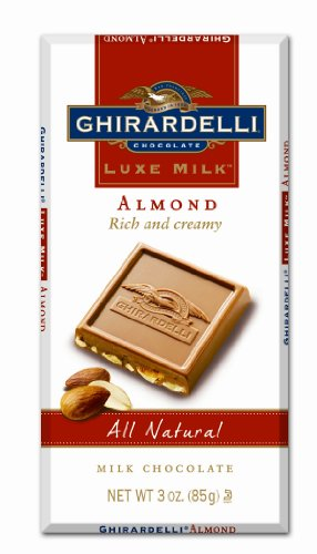 Ghirardelli Chocolate Luxe Milk Bar, Almond, 3-Ounce Bars (Pack of 6)