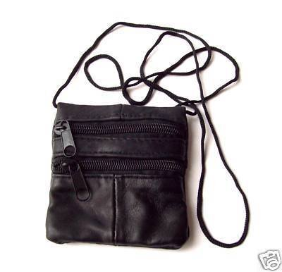 Small Unisex Black Genuine Leather Neck Change Coin Purse