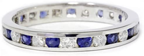 150CT Diamond amp Sapphire Eternity Ring 14K White Gold
