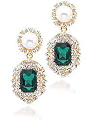 BIG Tree 18K Gold Plated Radiant Black Pearl And Diamond Earring For Women.