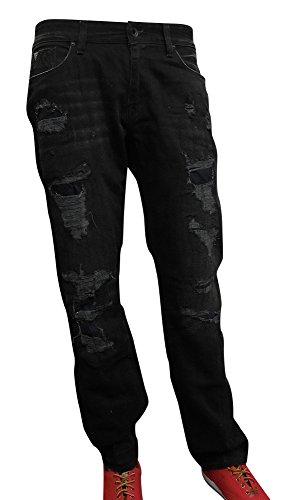 GUESS Men's Original Straight Jeans with Destroy in Break Away Black Wash 34