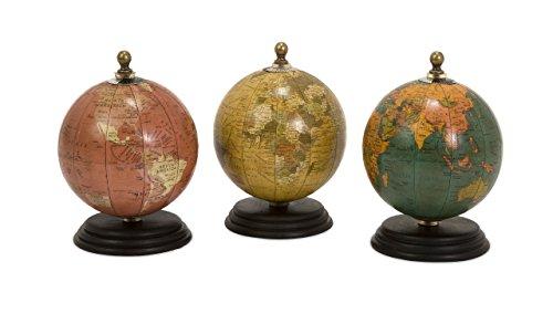 IMAX 73027-3 Antique Finish Mini Globe on Wood Base Artwork, Set of 3 0