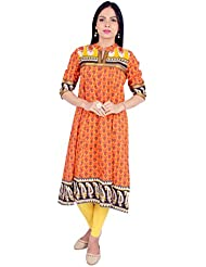 Rama Designer Orange Color Floral Print Semi Anarkali Kurti 14Rama14210275