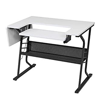 Studio Designs Eclipse Sewing and Craft Table, Black/White (Black/White) (Black/White)