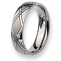 Chisel Brushed and Polished Titanium Ring (6.0 mm) - Sizes 6-13