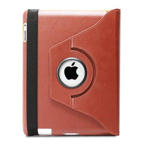 GreatShield Rotating Case for The new iPad 2012 w/ PVC Bag Packaging - Brown