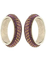 Anuradha Art Golden & Purple Colour Styled With Stone Designer Ethnic Bangles Set For Women/Girls