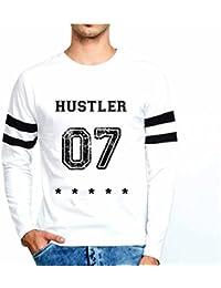 Veirdo Casual Fullsleeve T Shirt With Sports Trim For Men - Hustler 07 (White)