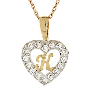 K Letter With Heart Images 14ct Gold Letter  k  CZ