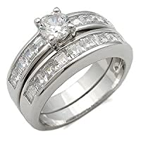 CZ Wedding Rings - Round and Princess Cut CZ Wedding Set Size 9