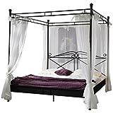 XXS® Design Himmelbett Venezia aus schwarzem Metall 160 x 200 cm inklusive Vorhang