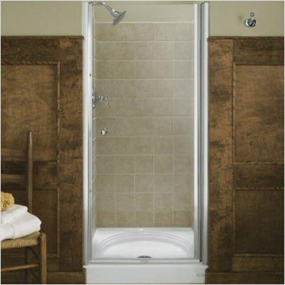 KOHLER K-702400-L-SH Fluence Frameless Pivot Shower Door, Bright Silver
