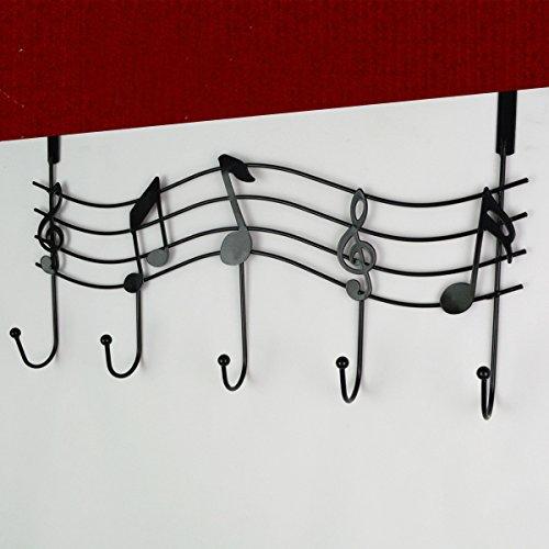 Rbenxia Over the Door Music Hanger Rack - Decorative Metal Hanger for Home Office Use Black
