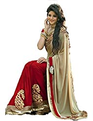 B Bella Creation Women's Beigh And Red Colour Georgette Saree