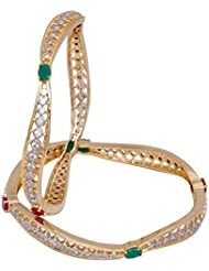 Multicolour Alloy American Diamond Bangle Set