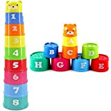 Baby Children Kids Educational Toy Building Block Figures Letters Numbers Folding Cup Stack Pagoda Gift 9Pcs/set