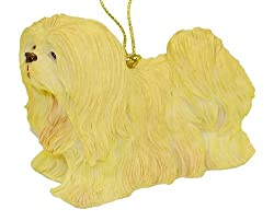 "4"" Lhasa Apso Apricot & Cream Dog Christmas Ornament"