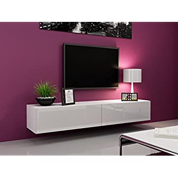 "Seattle TV Stand 180 – TV cabinet with High Gloss fronts - Hanging TV console for up to 80"" TVs (White)"