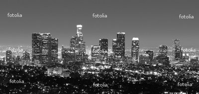 "Wallmonkeys Peel and Stick Wall Decals - Los Angeles Skyline at Night in Black & White - 72""W x 34""H Removable Graphic"