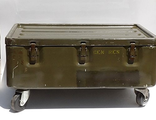 Military Trunk Coffee Table Foot Locker on Wheels 3