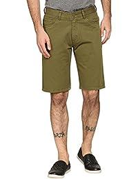 Abof Men Olive Green Overdyed Slim Fit Shorts