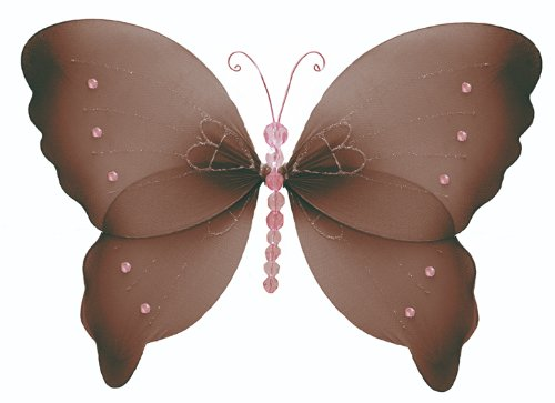 "18"" X-Large Brown Pink Crystal Butterfly Decorations - butterflies hanging nylon nursery bedroom girls room ceiling wall decor, wedding birthday party baby bridal shower"