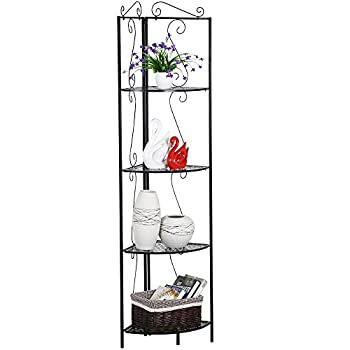 Topeakmart 4 Tier Metal Corner Shelf Unit Iron Art Storage Shelves for Bathroom Living Room Bedroom Black
