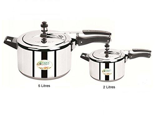 Kitchen Cookware Eco Green Aluminium Inner Lid Pressure Cooker Combo 2 Ltr Plus 5 Ltr
