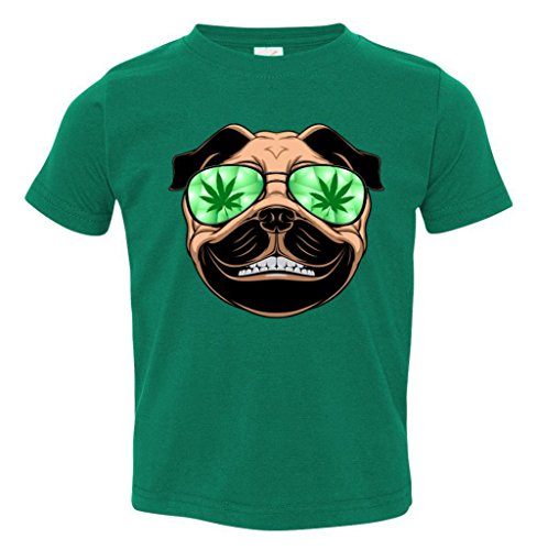 High Off Weed Smiling Pug Toddler T-Shirt
