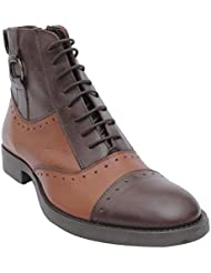 Salt N Pepper Ray Brown 100% Genuine Leather Almond Men Lace Up Boots