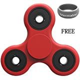 TOY KING Rubber Red Tri-Spinner Fidget Spinner Focus Toy Stress Reducer For Kid And Adult Premium Bearing]Easy...
