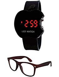 Sheomy Unisex Combo Pack Of Sunglasses And LED Digital Black Dial Apple Shape Watch - B01LXVM9F5