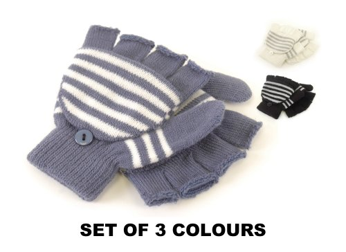 Value Pack Of 3 Girls Magic Mitten Fingerless Gloves With Fold Over Cover Assorted Colours One Size