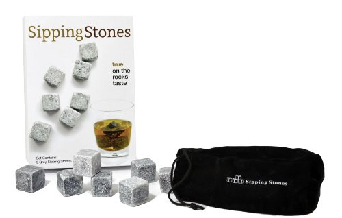 Sipping Stones - Set of 9 Grey Whisky Chilling Rocks - Made of 100% Pure Soapstone