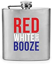 True Fabrications Red White and Booze Flask Silver