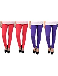 Anekaant Cotton Lycra Women's Legging Pack Of 4