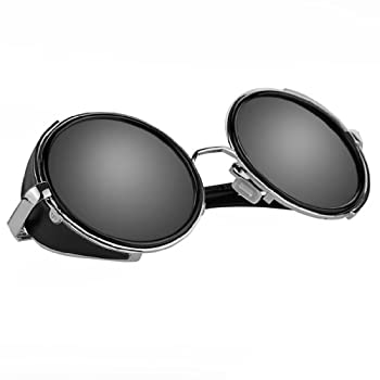 Vintage 50s Steampunk Round Mirror Lens Glasses Sun Glasses Men Women Unisex Retro Style Glasses Circle Frame Blinder Sunglasses Cyber Goggels Eyeglasses Eyewear Grey