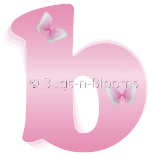 """b"" Pink Butterfly Alphabet Letter Name Wall Sticker - baby nursery girls room decor baby nursery girls room decor decoration decorations mural stickers bedroom"