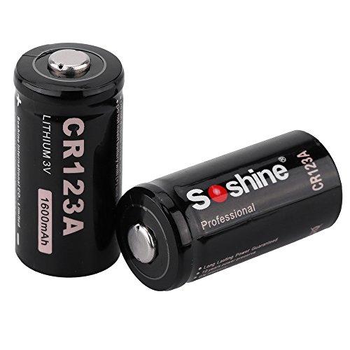 Lixada 2pcs 3V 1600mAh Piles Batterie Li-ion Lithium pour Lampe de Poche