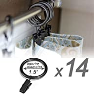 Set of 14 Decorative Drapery Curtain Clip Rings, 1.5″ Interior Diameter, Black Premium Iron Metal…